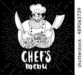 chef's menu logo. chalkboard ...   Shutterstock .eps vector #489063739