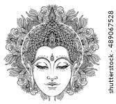 buddha face over ornate mandala ... | Shutterstock .eps vector #489067528