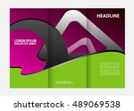 tri fold brochure design and... | Shutterstock .eps vector #489069538