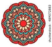 mandala. vector ethnic oriental ... | Shutterstock .eps vector #489072883