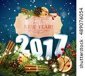 happy new year 2017  ... | Shutterstock .eps vector #489076054