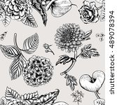 seamless pattern with flowers....   Shutterstock .eps vector #489078394
