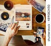 music steaming multimedia... | Shutterstock . vector #489082450