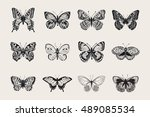 Stock vector set of butterflies vector vintage classic illustration black and white 489085534