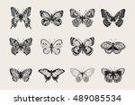 set of butterflies. vector... | Shutterstock .eps vector #489085534