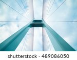 blue cable stayed bridge... | Shutterstock . vector #489086050