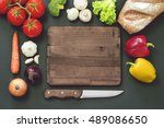 mock up  vintage bistro objects ... | Shutterstock . vector #489086650