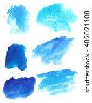 set of watercolor stain. spots... | Shutterstock . vector #489091108