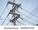 electricity post in blue sky.... | Shutterstock . vector #489097924
