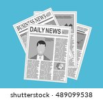 newspaper stack icon in flat... | Shutterstock .eps vector #489099538