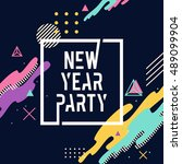 new year party letter with... | Shutterstock .eps vector #489099904