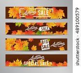 autumn web banner sale with... | Shutterstock .eps vector #489100579
