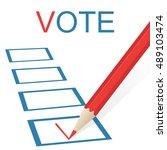 voting concept picture. pencil... | Shutterstock .eps vector #489103474