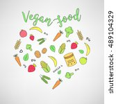 set of the vegan food icons.... | Shutterstock . vector #489104329