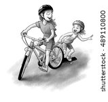 two sisters play in the street. ...   Shutterstock . vector #489110800