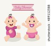 baby boy cartoon of baby shower ... | Shutterstock .eps vector #489112588
