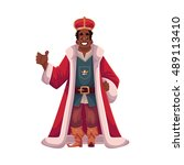king wearing crowns and mantle  ... | Shutterstock .eps vector #489113410