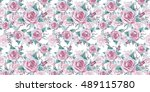 wildflower rose flower pattern... | Shutterstock . vector #489115780