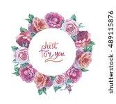 wildflower rose flower frame in ... | Shutterstock . vector #489115876