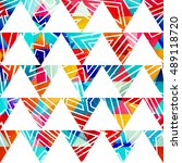 colored triangle seamless... | Shutterstock .eps vector #489118720