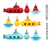 submarine cartoon style  yellow ... | Shutterstock .eps vector #489120280