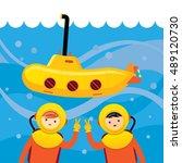 yellow submarine with kids... | Shutterstock .eps vector #489120730