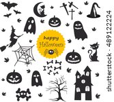 halloween set | Shutterstock .eps vector #489122224