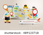 map with mode of transport ... | Shutterstock .eps vector #489123718