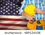 manual worker wearing tool belt ... | Shutterstock . vector #489124108