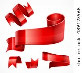 set of red ribbons on white ... | Shutterstock .eps vector #489128968