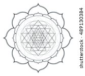 vector contour monochrome... | Shutterstock .eps vector #489130384