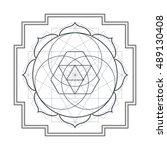 vector contour monochrome... | Shutterstock .eps vector #489130408