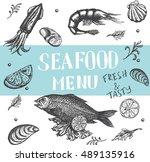 vector vintage seafood... | Shutterstock .eps vector #489135916