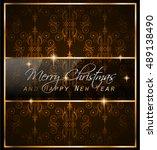 christmas vintage classic... | Shutterstock . vector #489138490
