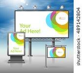 white outdoor advertising... | Shutterstock .eps vector #489142804