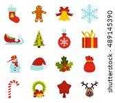 christmas icons set in flat... | Shutterstock .eps vector #489145390