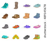 shoe icons set in cartoon style.... | Shutterstock .eps vector #489145678