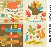 thanksgiving day in vector set... | Shutterstock .eps vector #489148228