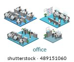 flat 3d isometric abstract... | Shutterstock .eps vector #489151060