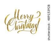 gold merry christmas card.... | Shutterstock .eps vector #489153928