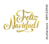 gold spanish merry christmas...   Shutterstock .eps vector #489153940