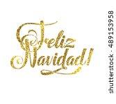 gold spanish merry christmas...   Shutterstock .eps vector #489153958