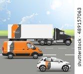 orange transport advertising...   Shutterstock .eps vector #489157063