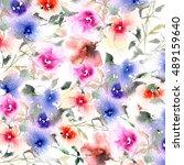 floral pattern. watercolor... | Shutterstock . vector #489159640