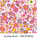 hippie wallpaper with funny... | Shutterstock . vector #489159820