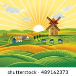 rural landscape with a windmill ...   Shutterstock .eps vector #489162373