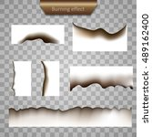 burned paper effect vector. set ... | Shutterstock .eps vector #489162400