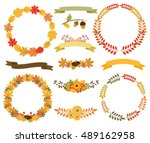 autumn leaf wreaths  banner... | Shutterstock .eps vector #489162958