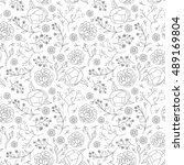 seamless hand drawn floral... | Shutterstock .eps vector #489169804