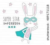 strong superhero bunny rabbit...   Shutterstock .eps vector #489171118